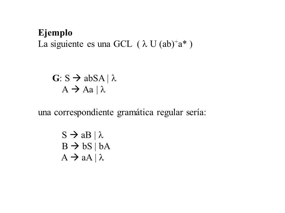 Ejemplo La siguiente es una GCL ( l U (ab)+a* ) G: S  abSA | l. A  Aa | l. una correspondiente gramática regular sería: