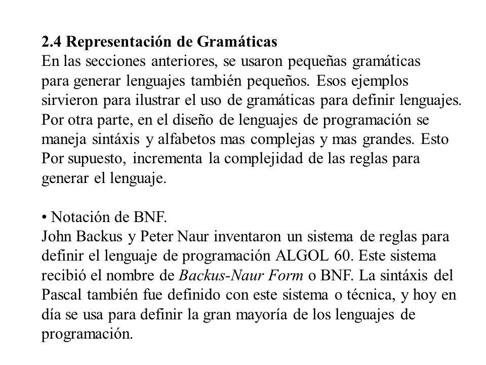 2.4 Representación de Gramáticas