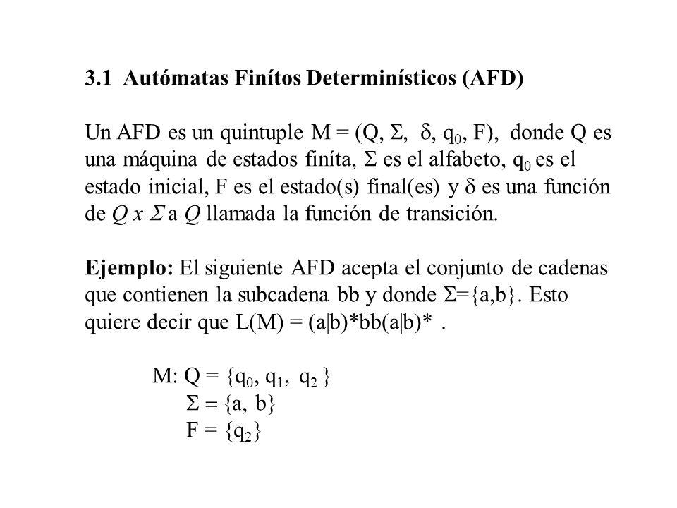 3.1 Autómatas Finítos Determinísticos (AFD)