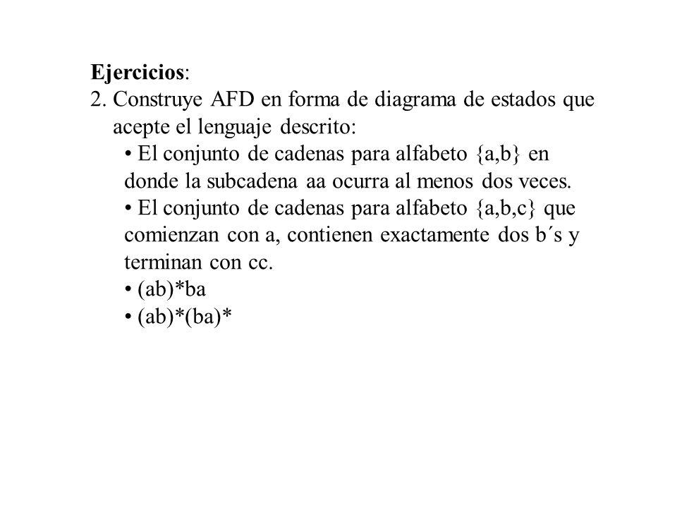 Ejercicios: 2. Construye AFD en forma de diagrama de estados que. acepte el lenguaje descrito:
