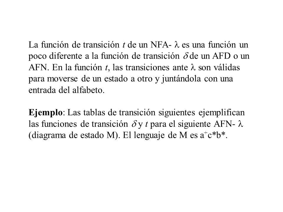 La función de transición t de un NFA- l es una función un poco diferente a la función de transición d de un AFD o un AFN. En la función t, las transiciones ante l son válidas para moverse de un estado a otro y juntándola con una entrada del alfabeto.