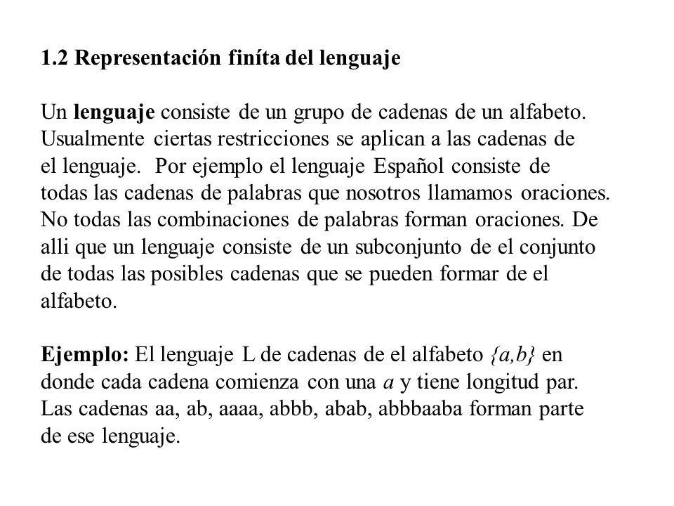 1.2 Representación finíta del lenguaje