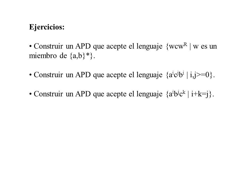 Ejercicios: Construir un APD que acepte el lenguaje {wcwR | w es un miembro de {a,b}*}.