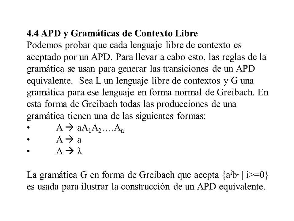 4.4 APD y Gramáticas de Contexto Libre