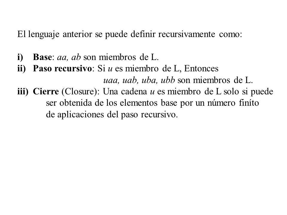 El lenguaje anterior se puede definir recursivamente como: