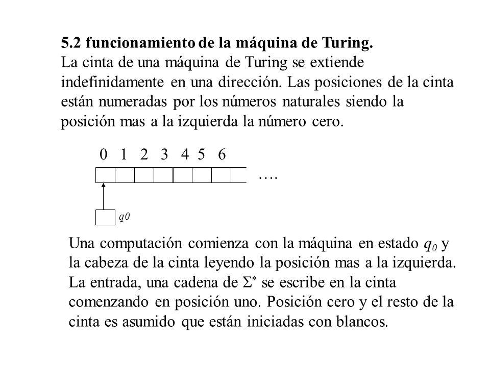 5.2 funcionamiento de la máquina de Turing.