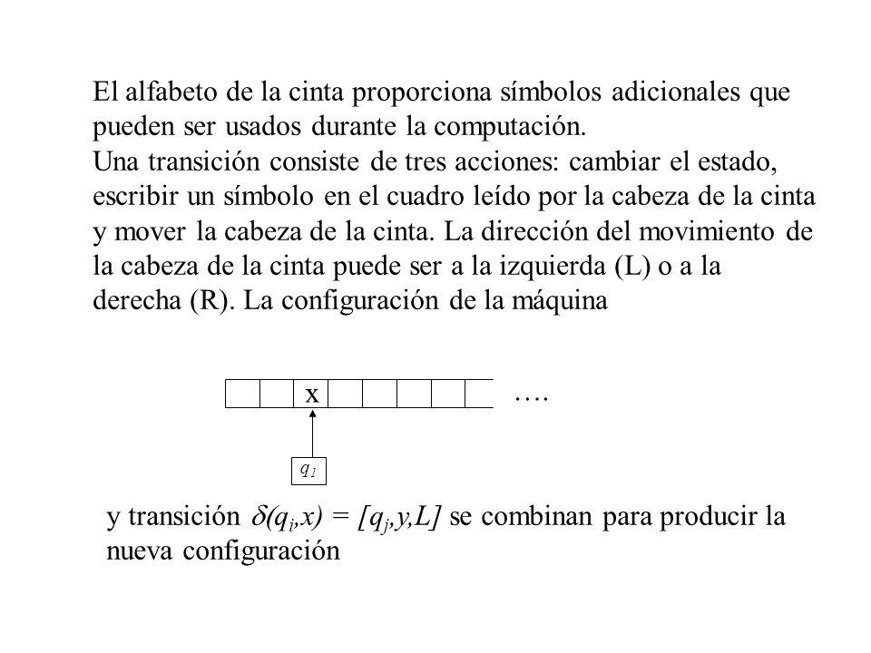 El alfabeto de la cinta proporciona símbolos adicionales que pueden ser usados durante la computación.