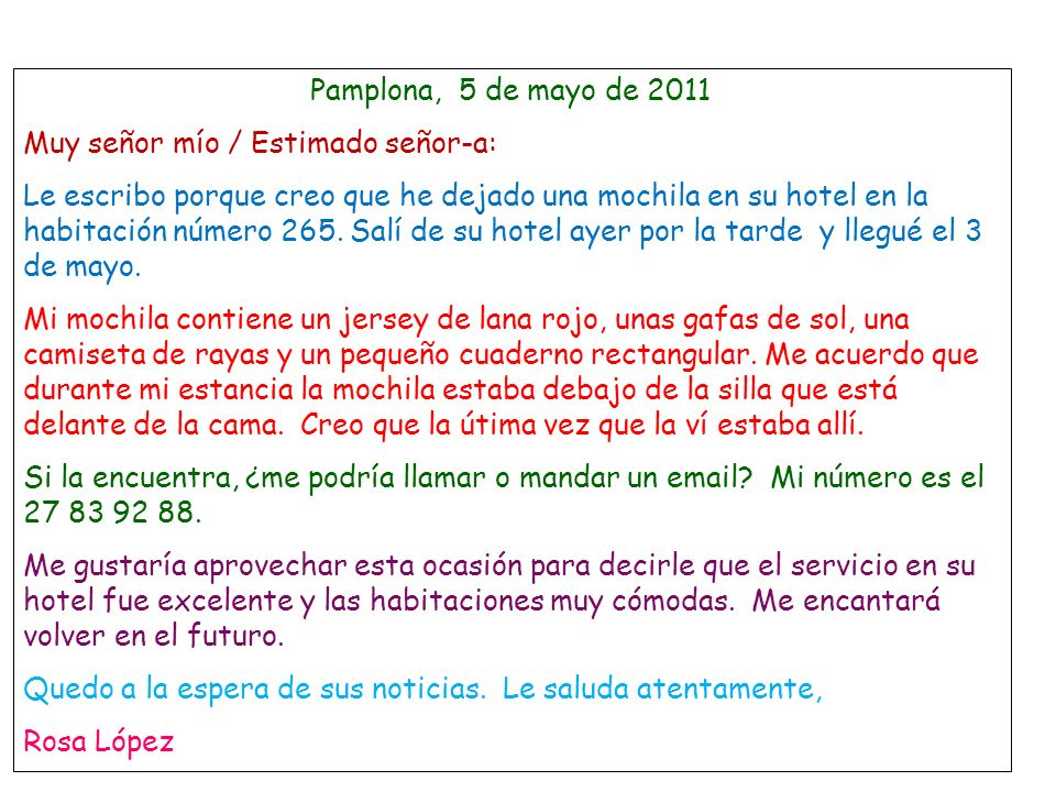 Pamplona, 5 de mayo de 2011 Muy señor mío / Estimado señor-a: