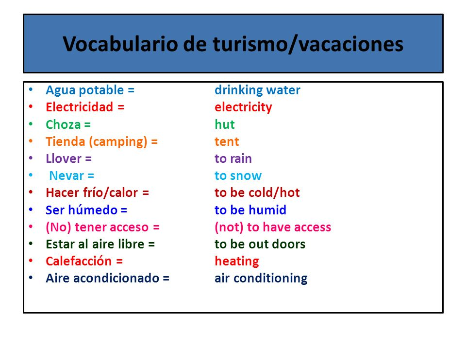 Vocabulario de turismo/vacaciones