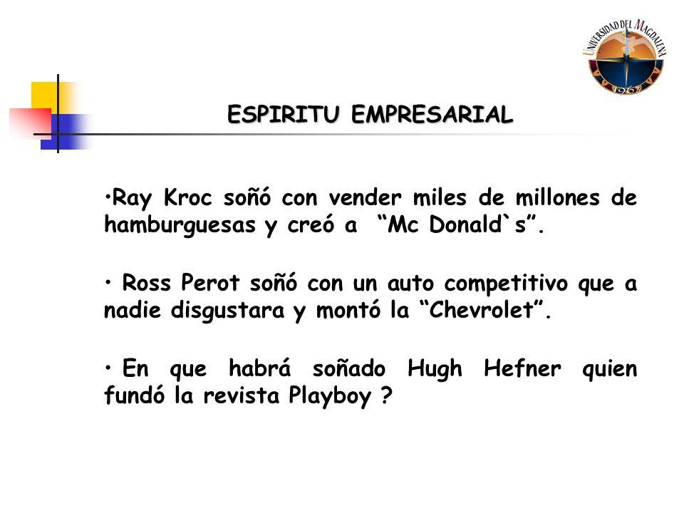 ESPIRITU EMPRESARIAL Ray Kroc soñó con vender miles de millones de hamburguesas y creó a Mc Donald`s .