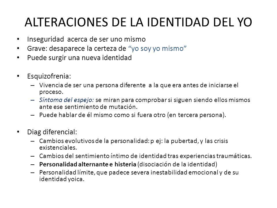 ALTERACIONES DE LA IDENTIDAD DEL YO
