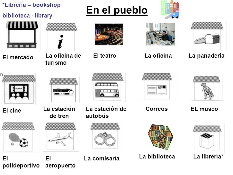 En el pueblo *Librería – bookshop biblioteca - library