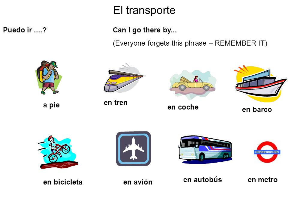 El transporte Puedo ir .... Can I go there by...