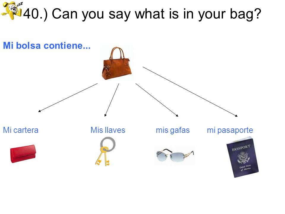 40.) Can you say what is in your bag