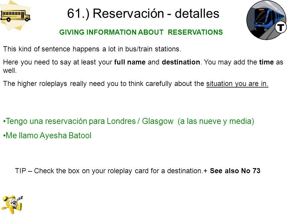 61.) Reservación - detalles