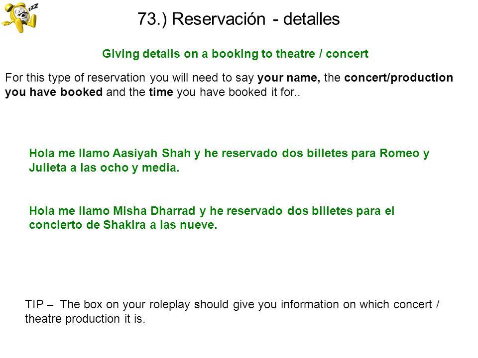 73.) Reservación - detalles