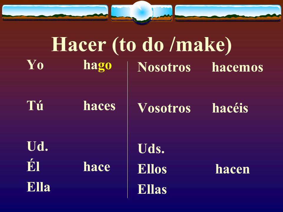 Hacer (to do /make) Yo hago Nosotros hacemos Tú haces Vosotros hacéis