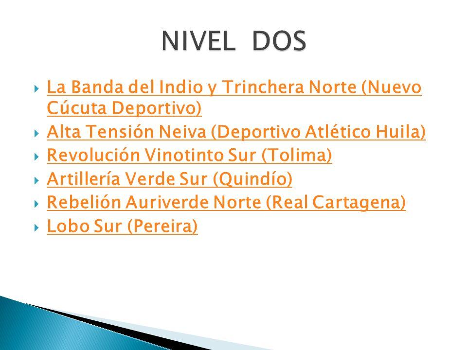 NIVEL DOS La Banda del Indio y Trinchera Norte (Nuevo Cúcuta Deportivo) Alta Tensión Neiva (Deportivo Atlético Huila)