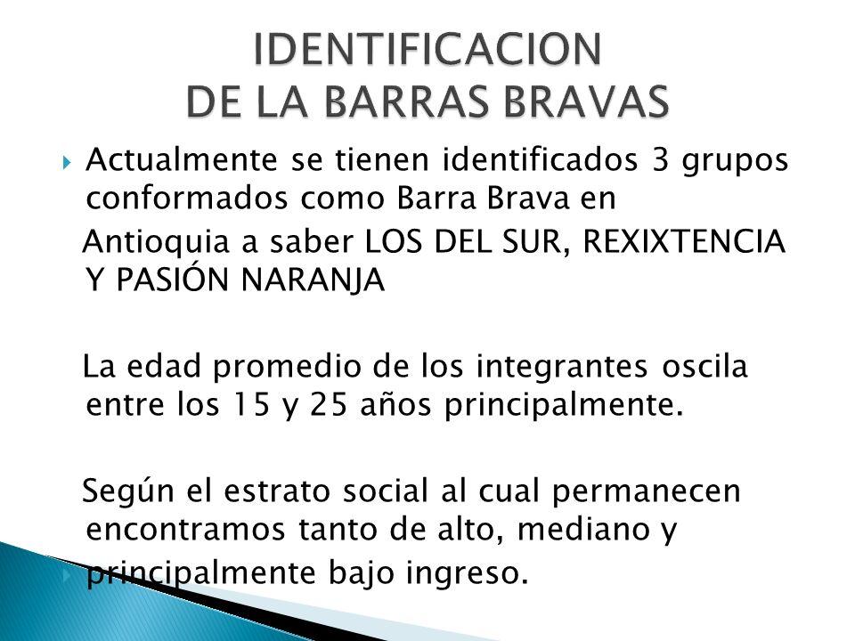 IDENTIFICACION DE LA BARRAS BRAVAS