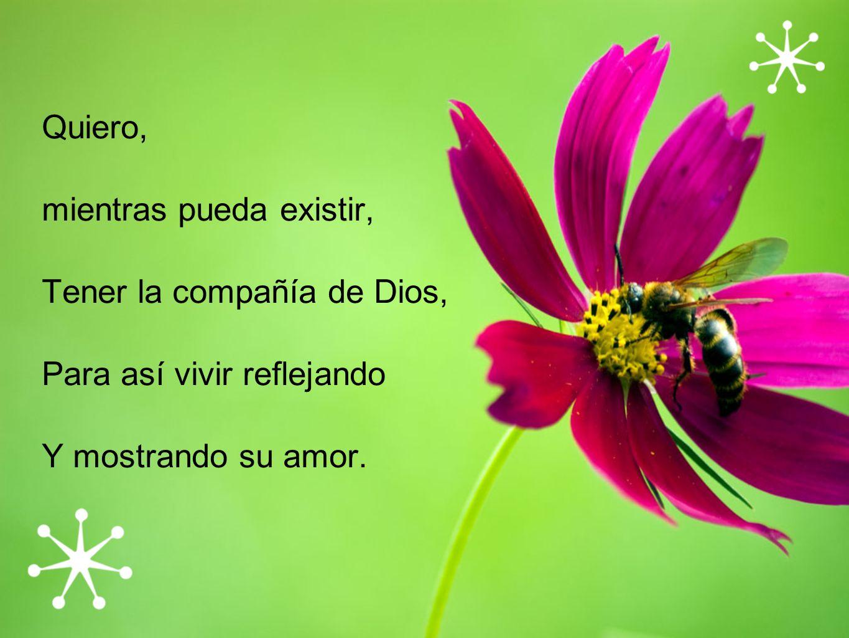 Quiero, mientras pueda existir, Tener la compañía de Dios, Para así vivir reflejando.