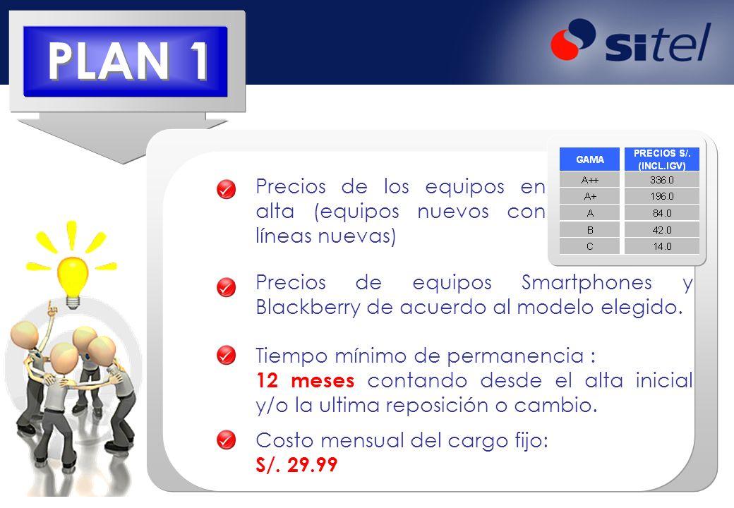 PLAN 1Precios de los equipos en alta (equipos nuevos con líneas nuevas) Precios de equipos Smartphones y Blackberry de acuerdo al modelo elegido.