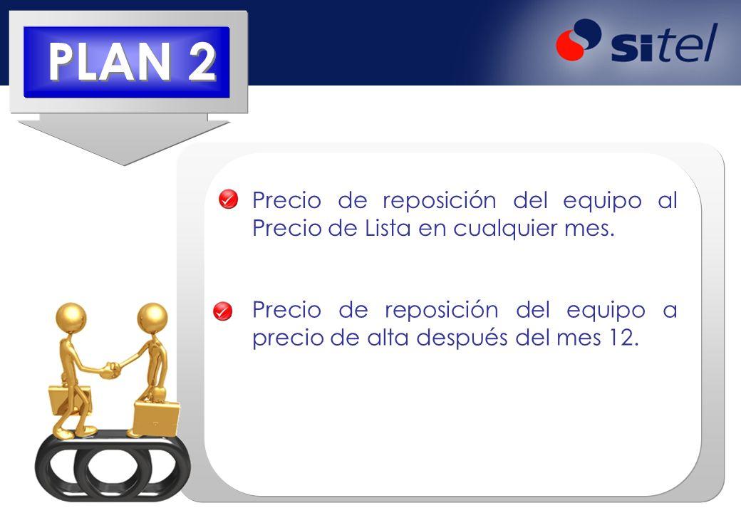PLAN 2 Precio de reposición del equipo al Precio de Lista en cualquier mes.