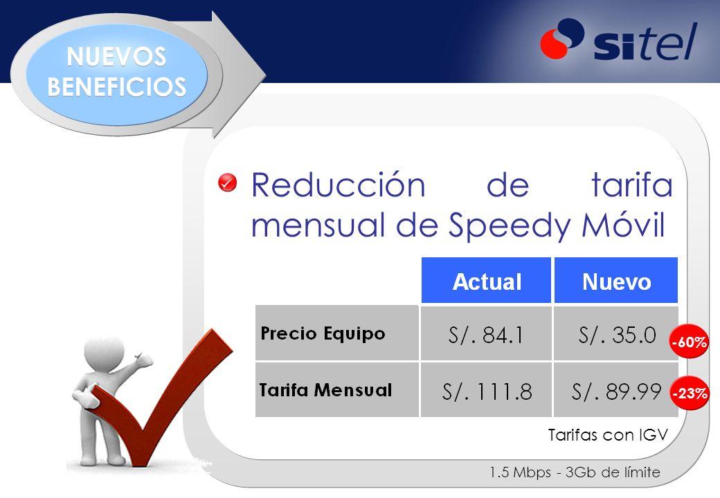 Reducción de tarifa mensual de Speedy Móvil