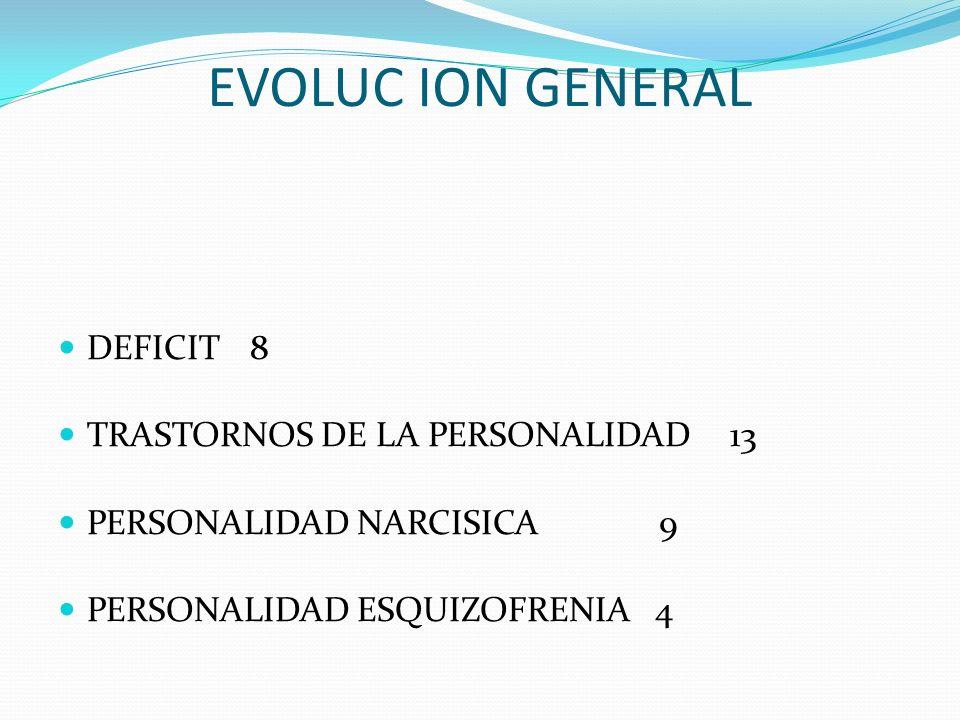 EVOLUC ION GENERAL DEFICIT 8 TRASTORNOS DE LA PERSONALIDAD 13