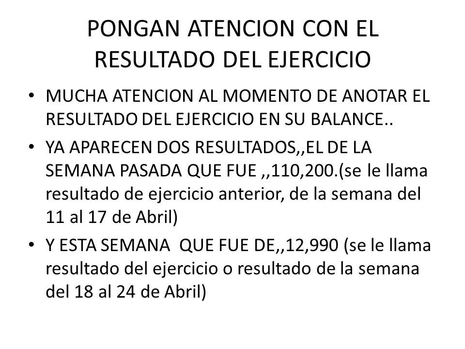 PONGAN ATENCION CON EL RESULTADO DEL EJERCICIO