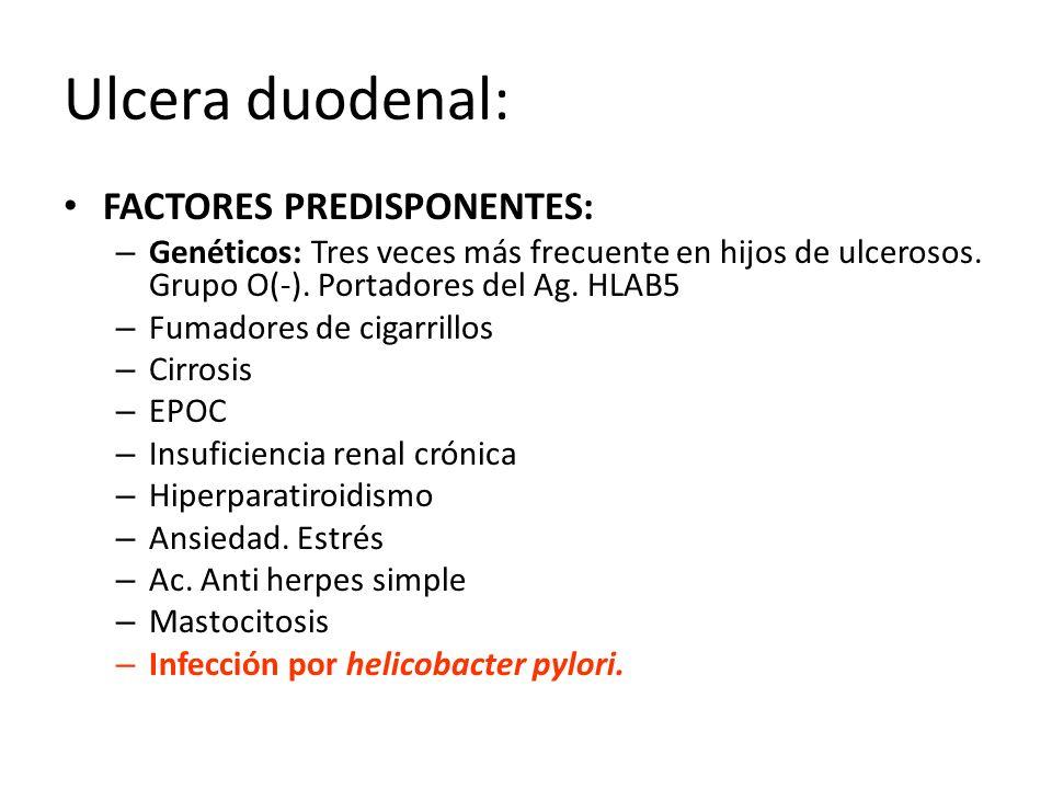 Ulcera duodenal: FACTORES PREDISPONENTES: