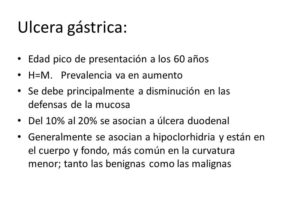 Ulcera gástrica: Edad pico de presentación a los 60 años