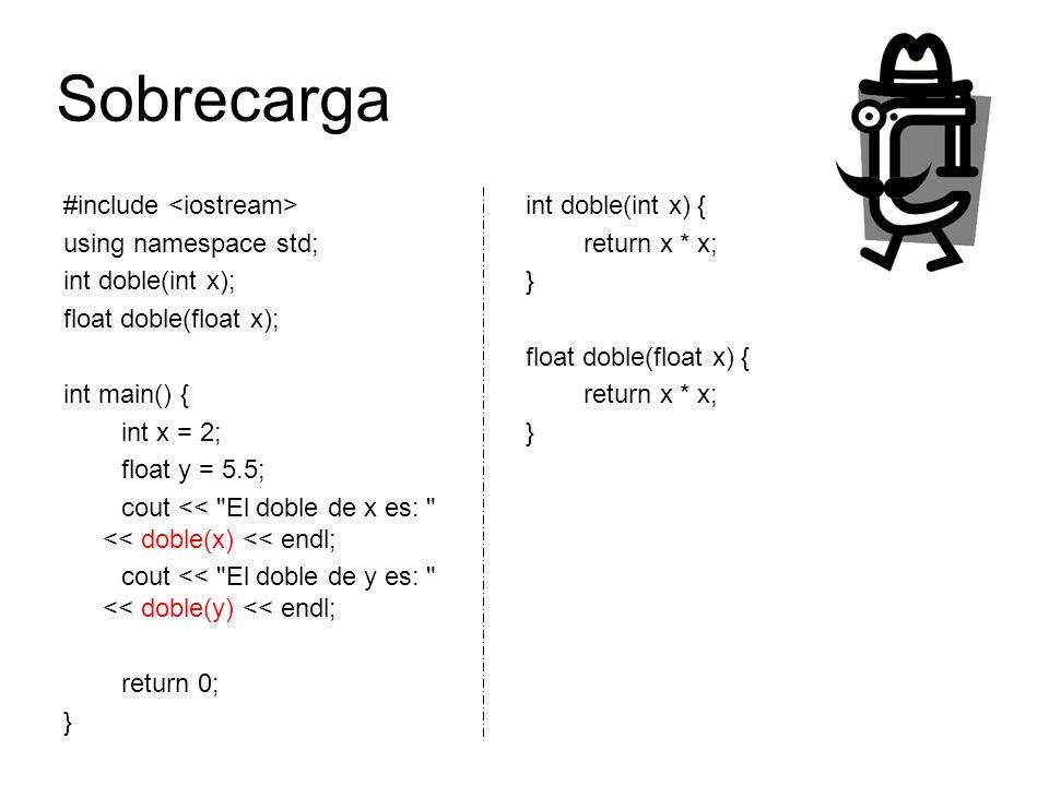 Sobrecarga #include <iostream> using namespace std;