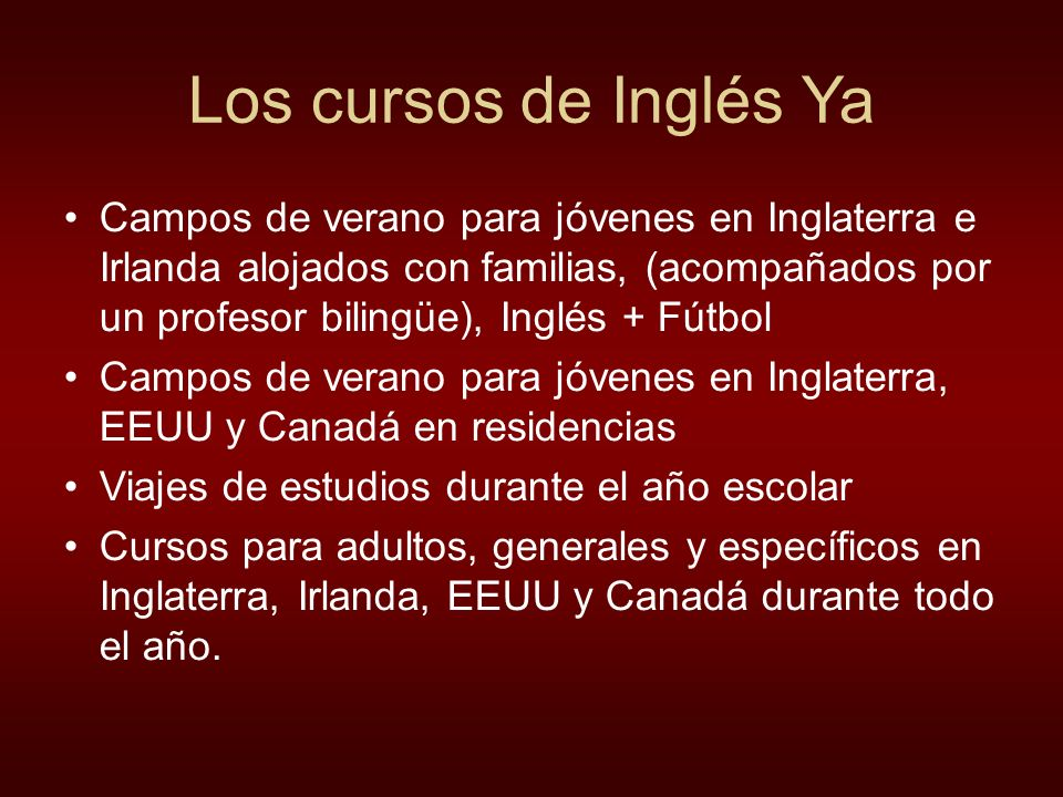 Los cursos de Inglés Ya
