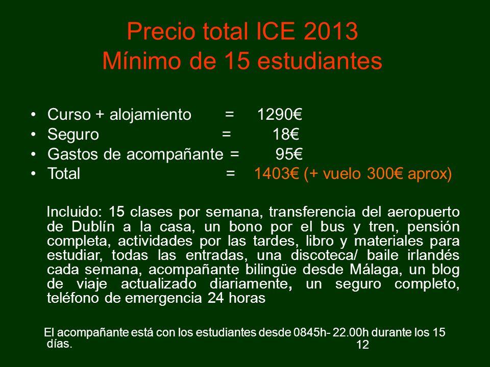 Precio total ICE 2013 Mínimo de 15 estudiantes
