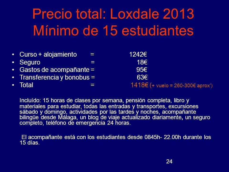 Precio total: Loxdale 2013 Mínimo de 15 estudiantes