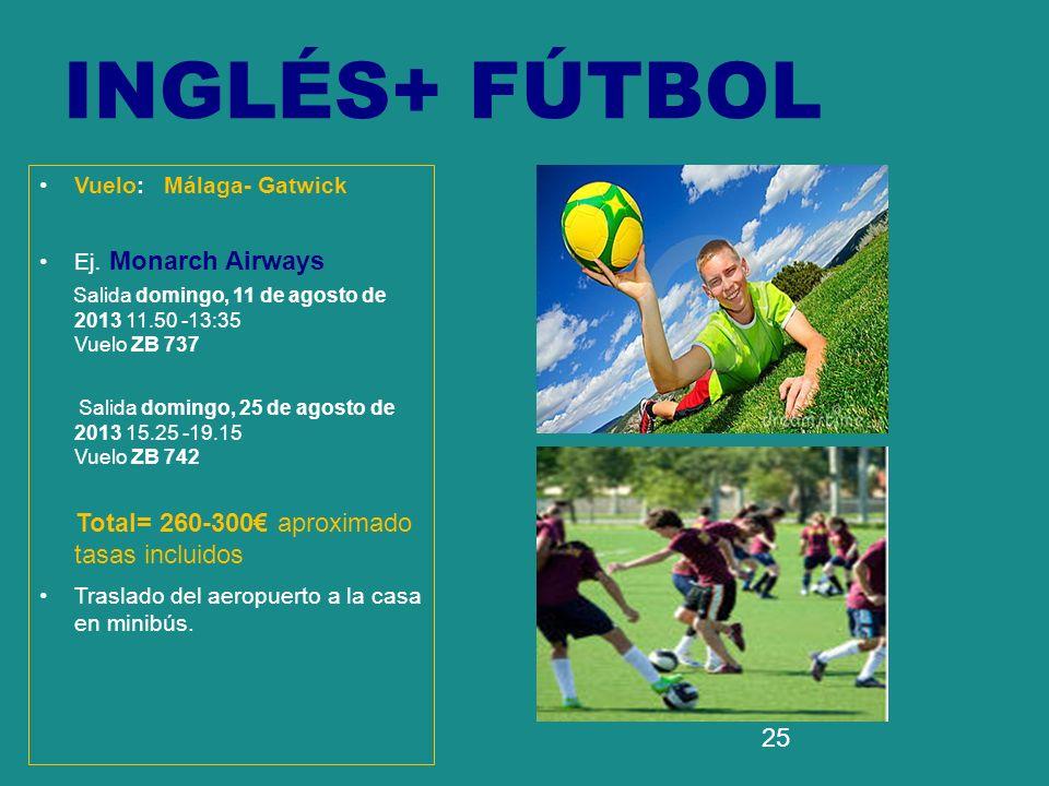 INGLÉS+ FÚTBOL Total= 260-300€ aproximado tasas incluidos