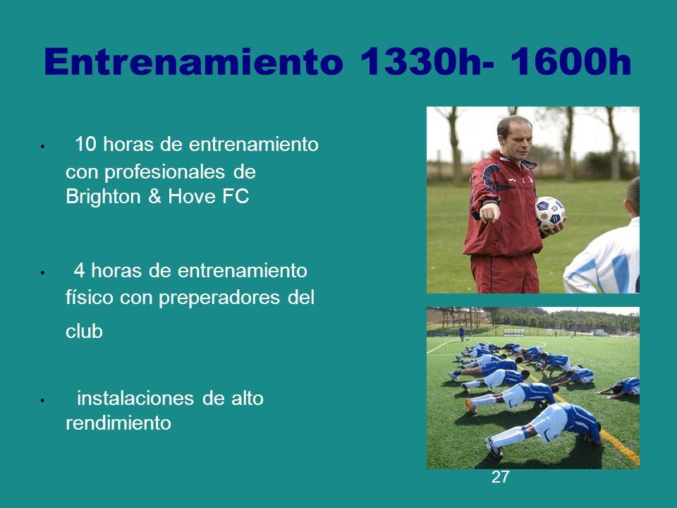 Entrenamiento 1330h- 1600h 10 horas de entrenamiento con profesionales de Brighton & Hove FC.