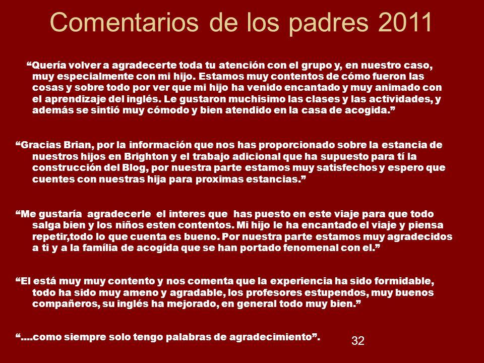 Comentarios de los padres 2011