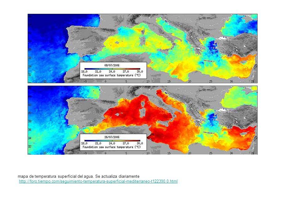 mapa de temperatura superficial del agua. Se actualiza diariamente