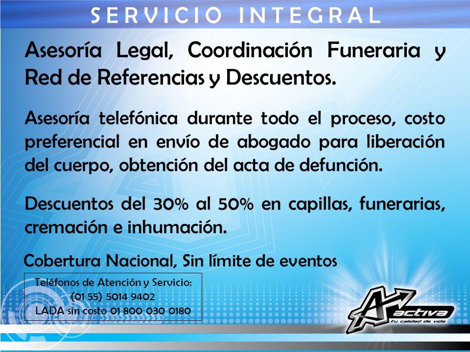 Teléfonos de Atención y Servicio: