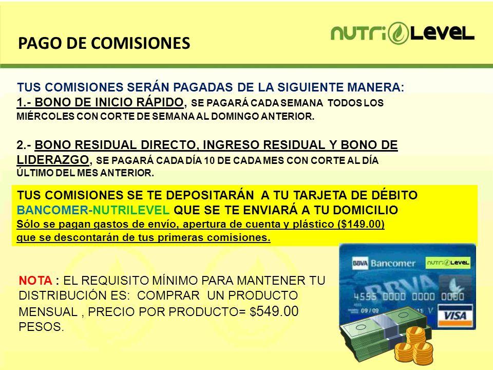 PAGO DE COMISIONES TUS COMISIONES SERÁN PAGADAS DE LA SIGUIENTE MANERA: