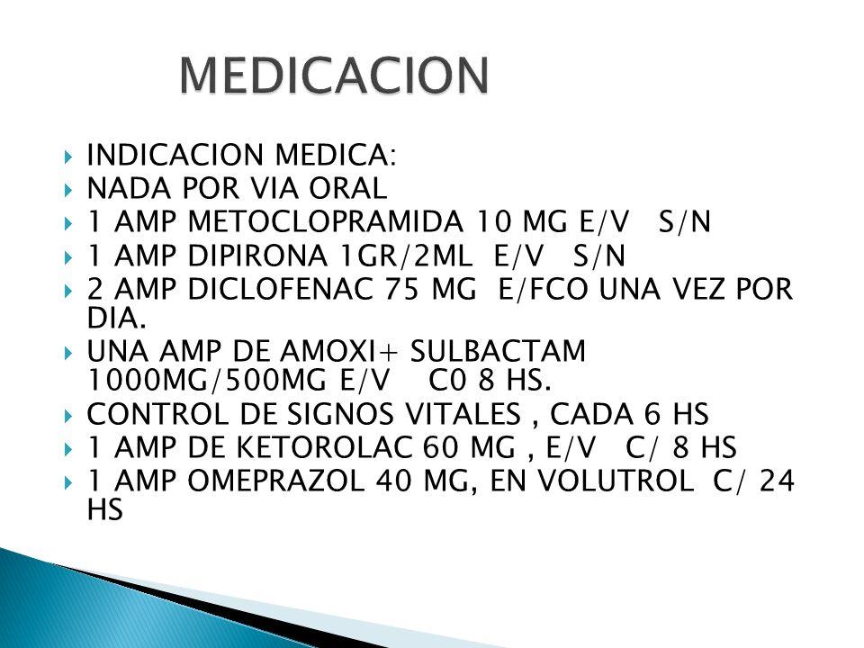 MEDICACION INDICACION MEDICA: NADA POR VIA ORAL