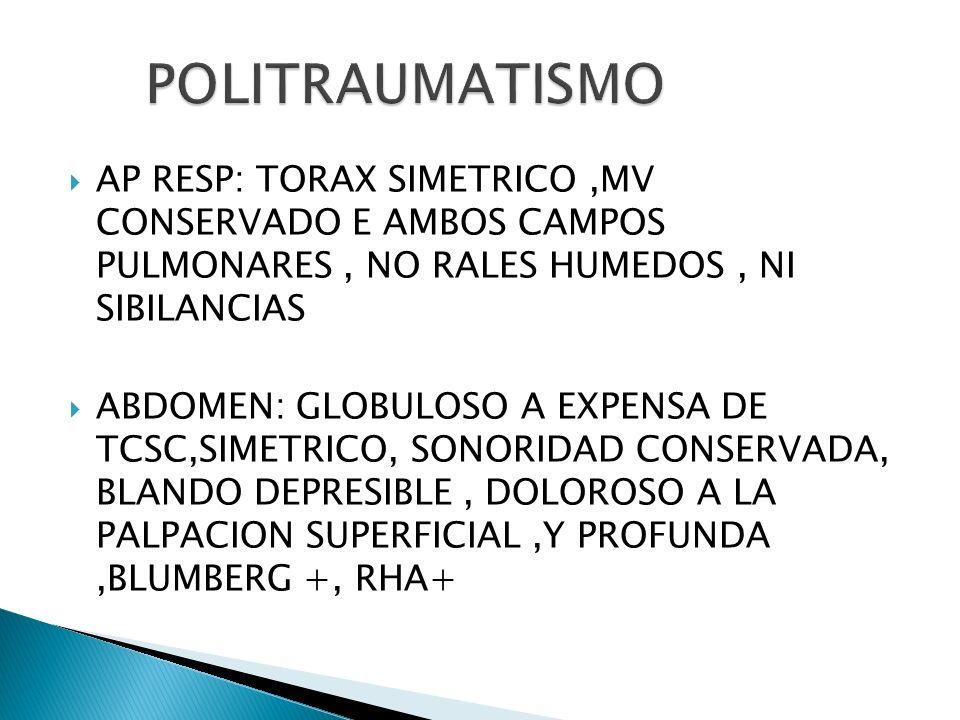 POLITRAUMATISMO AP RESP: TORAX SIMETRICO ,MV CONSERVADO E AMBOS CAMPOS PULMONARES , NO RALES HUMEDOS , NI SIBILANCIAS.