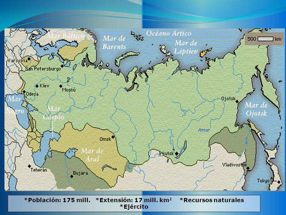 Población: 175 mill. Extensión: 17 mill. km2. Recursos naturales