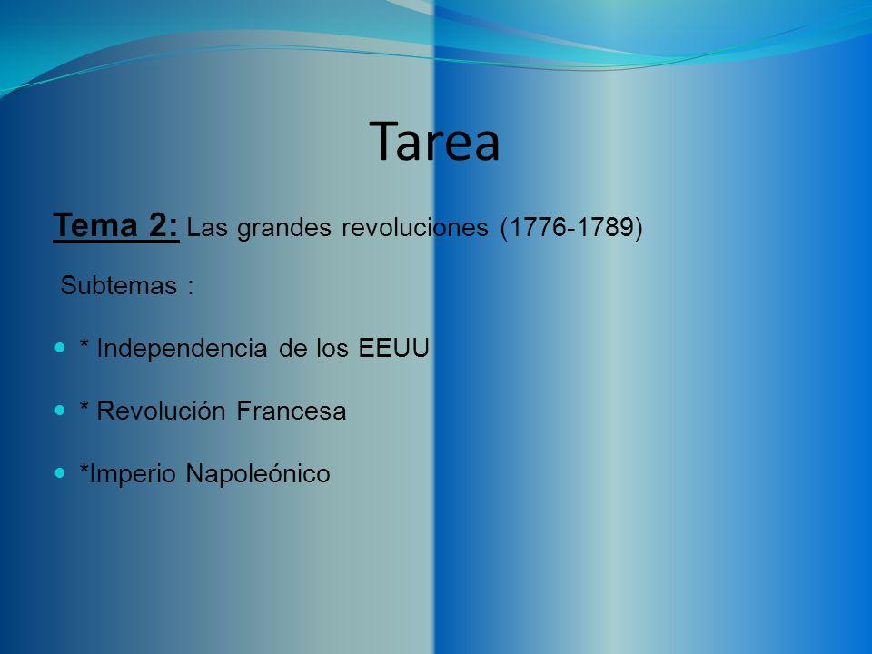 Tarea Tema 2: Las grandes revoluciones (1776-1789) Subtemas :