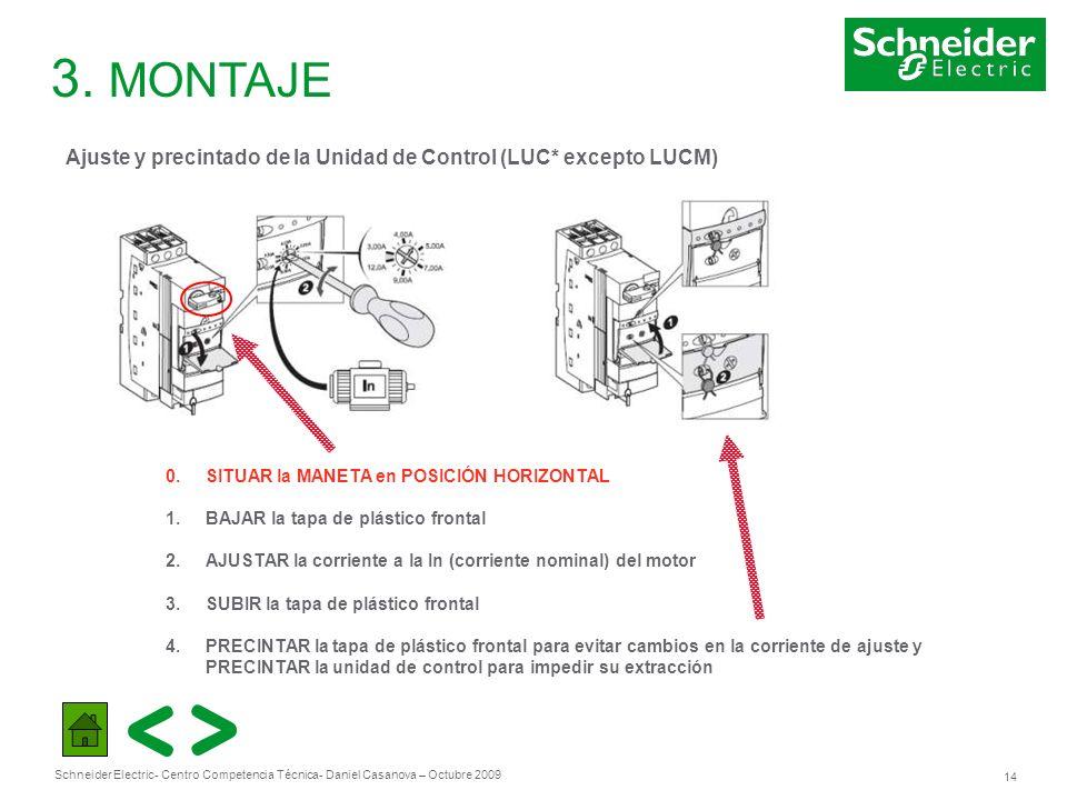 3. MONTAJEAjuste y precintado de la Unidad de Control (LUC* excepto LUCM) 0. SITUAR la MANETA en POSICIÓN HORIZONTAL.