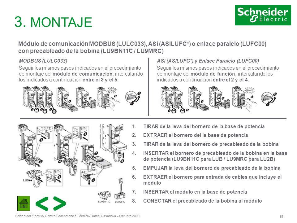 3. MONTAJE Módulo de comunicación MODBUS (LULC033), ASi (ASILUFC*) o enlace paralelo (LUFC00) con precableado de la bobina (LU9BN11C / LU9MRC)