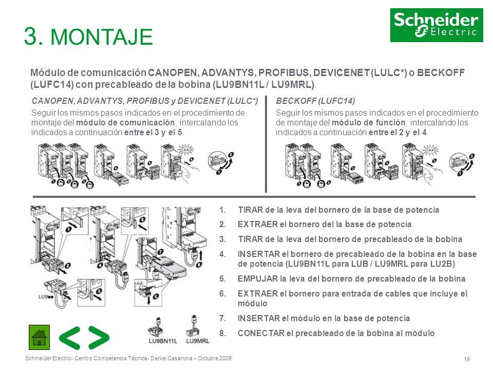 3. MONTAJEMódulo de comunicación CANOPEN, ADVANTYS, PROFIBUS, DEVICENET (LULC*) o BECKOFF. (LUFC14) con precableado de la bobina (LU9BN11L / LU9MRL)