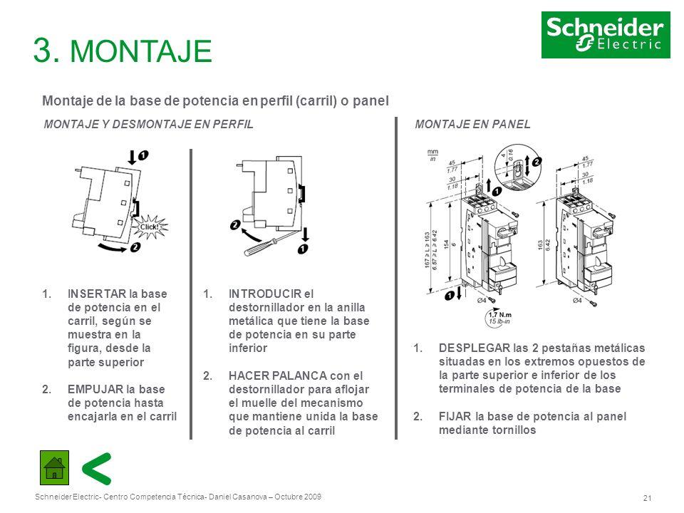 3. MONTAJE Montaje de la base de potencia en perfil (carril) o panel
