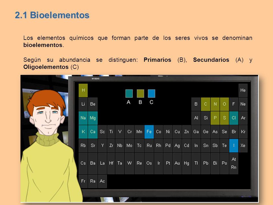 2.1 BioelementosLos elementos químicos que forman parte de los seres vivos se denominan bioelementos.